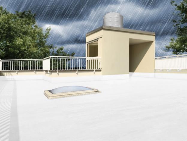 techo con impermeabilizante blanco