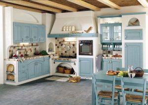 cocina vintage azul con blanco
