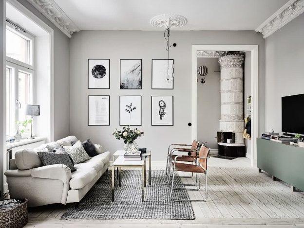 sala de estar gris claro