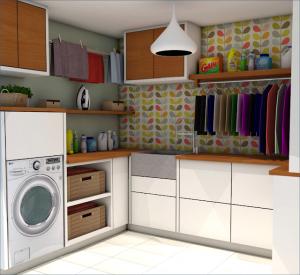 cuarto de lavado con papel tapiz
