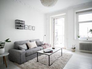 Sala de estar blanco neutro con gris