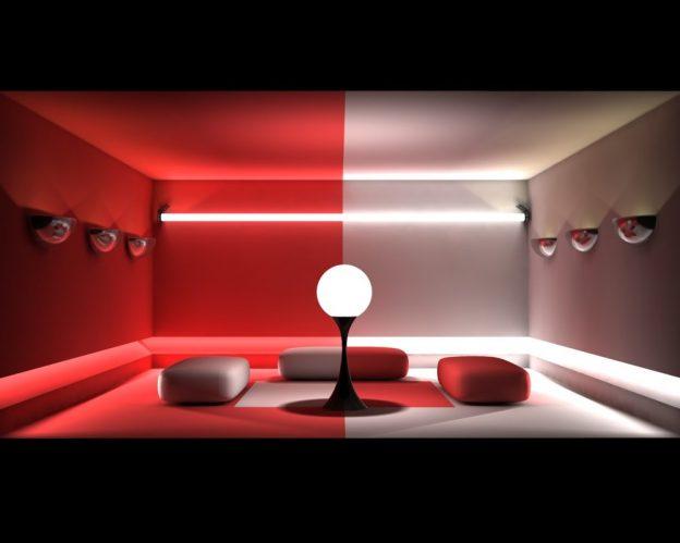 habitación color rojo y gris