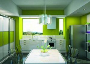 cocina comedor color verde blanco y gris