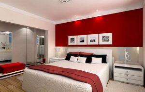 habitación color rojo y blanco