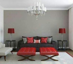 sala color gris y detalles rojos
