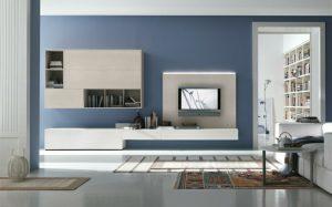 sala de estar azul y gris