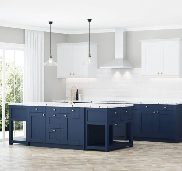 gabinetes de cocina blancos y azules